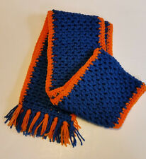 "Handmade Scarf  One of a Kind Team Colors Blue & Orange Unisex  7"" x 68"""