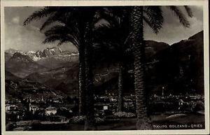 Bolzano-Gries-Bozen-AK-frankiert-1920-30-Blick-ueber-die-Stadt-nach-den-Bergen