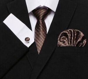 Set-Cravate-7cm-Marron-Design-100-Soie-Jacquard-Bouton-Manchette-Mouchoir-ModeFR