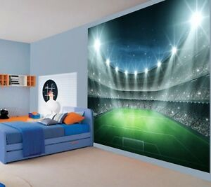 Cool Football stadium night floodlit Kids Boys wallpaper wall mural