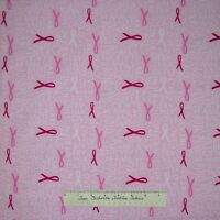Robert Kaufman Fabric - Be Strong Breast Cancer Ribbon & Words Pink 21