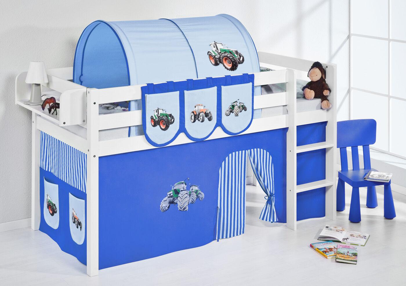 Spielbett surelevé lit enfant Jelle 190x90 CM BLANC LILOKIDS tracteur bleu