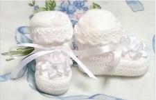 Baby Booties 0-3mo Girl White Ribbon Embroidery Flower Handmade Crochet USA MADE