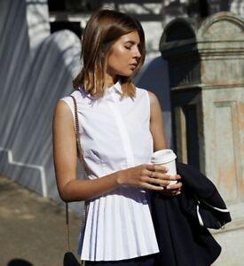0cadc4be8c4 Details about Karen Millen Pleated Hem Peplum Tailored Collared White Shirt  Top UK 10 38 HA013
