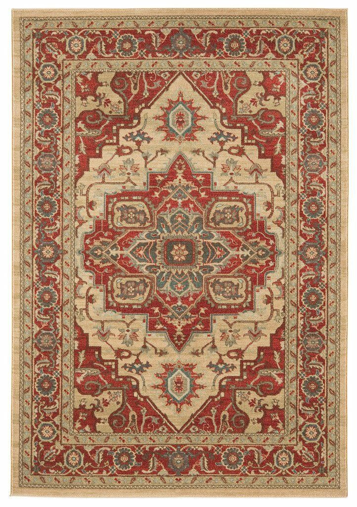 The Rug House Windsor rosso Traditional Soft Warm Non Shed Classic Medallion...