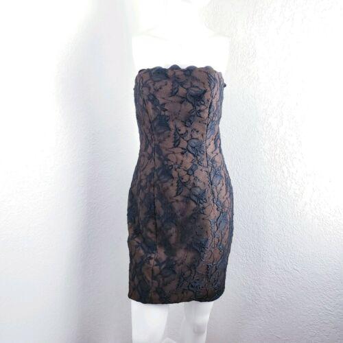 Vtg Jan Barboglio Black Lace Strapless Lace Dress