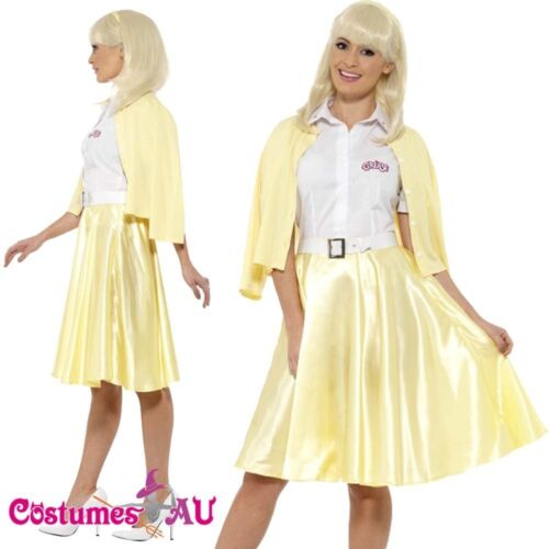 Ladies Grease Good Sandy Costume Licensed 1950s 50s Yellow Party Fancy Dress