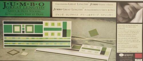 Creative Memories Nuevo Jumbo grandes longitudes Pegatinas Verde Y Oliva