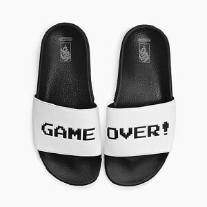 vans x nintendo. image is loading vans-x-nintendo-game-over-white-black-slide- vans x nintendo l