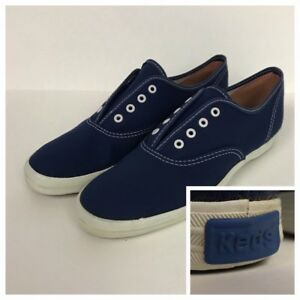 15f52037c22f7 1980s Keds Shoes / Navy Blue Canvas Lace Up Tennis Shoes / Women's 6 ...