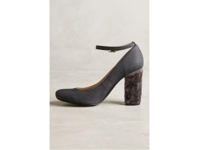 NEU Anthropologie Farylrobin Gray Tessa Velvet Heels Ankle Strap Pumps Größe 6