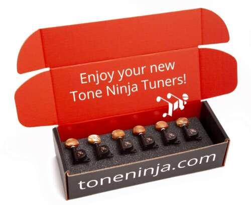 Pearloid Button Genuine Tone Ninja Tuners 6 Inline Staggered Black