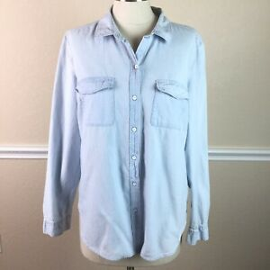 Old-Navy-Womens-Top-Size-L-Denim-Button-Down-Light-Wash-Classic-Cotton
