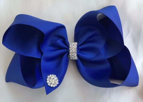 """weddings dance designer style boutique hair bows 6/"""" with diamante gems party"""