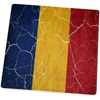 Distressed Romanian Flag Set Of 4 Square Sandstone Coasters