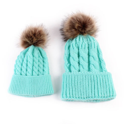 Mother/&Me Knitted Wool Hat Baby Kids Winter Warm Cap Pompom Bobble Beanie Hats
