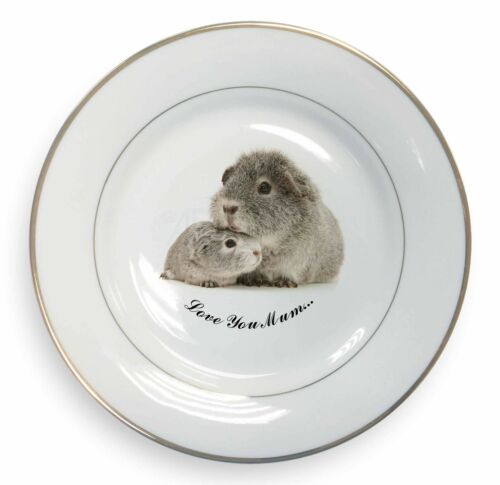 Silver Guinea Pigs 'Love You Mum' Gold Rim Plate in Gift Box Christm, GIN3lymPL
