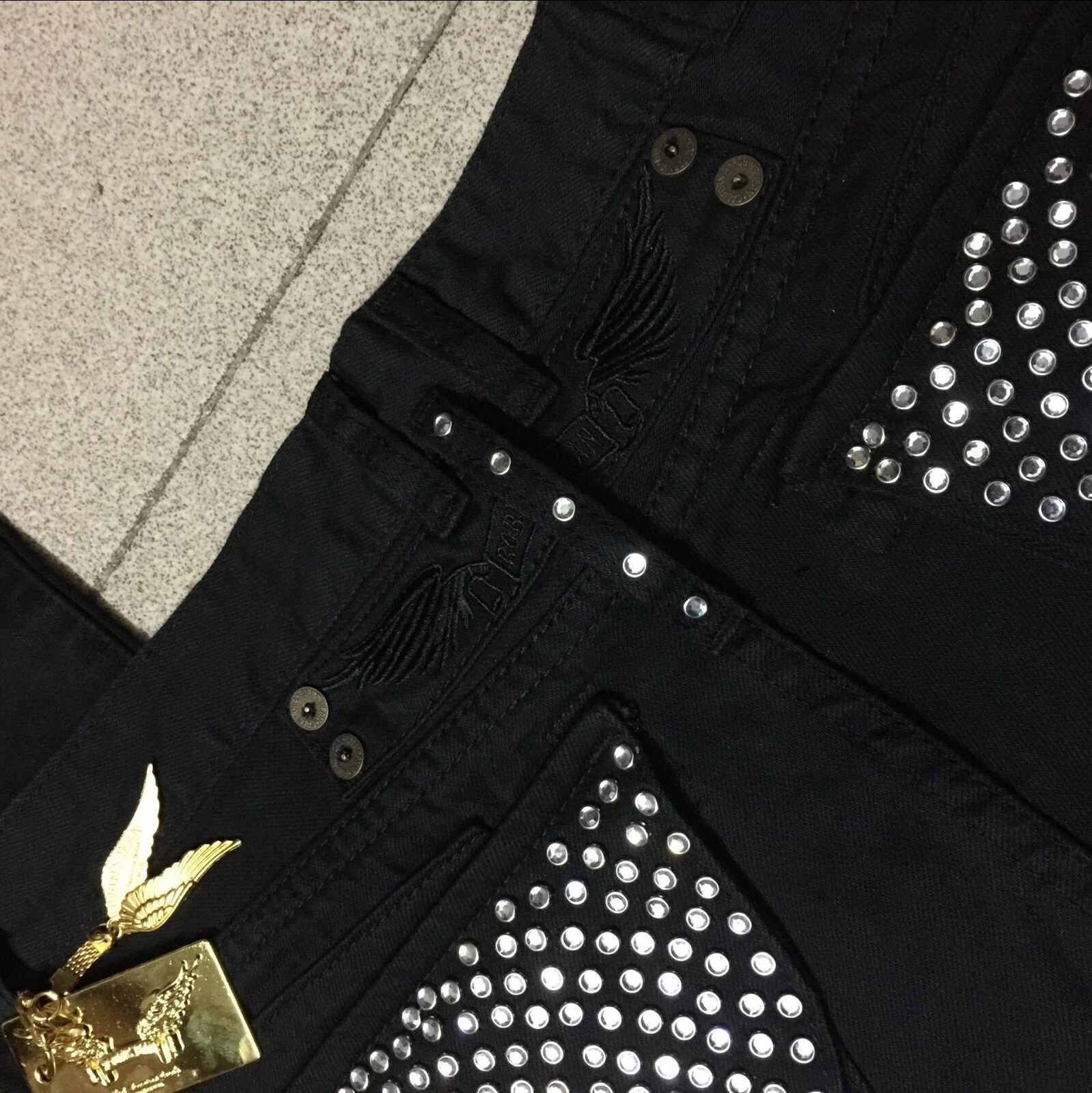 42509283cf6 NWT Mens Black Robin Jeans Silver Studs Crystal Pockets Gold Plate Wings  Pants