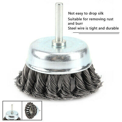 """2/'/' Metal Wire Wheel Cup Brush Crimped with 1//4/"""" Shank For Die Grinder Drill"""
