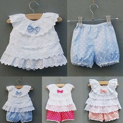 2pcs Kids Baby Girls Ruffled Bow T-shirt Tops+Cute Dots Shorts Suits Outfit 0-2Y