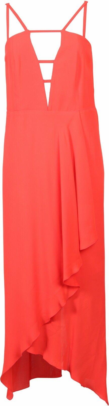 LALA BERLIN Strap Kleid Bojana red Volants Lang Gr M NEU 67924
