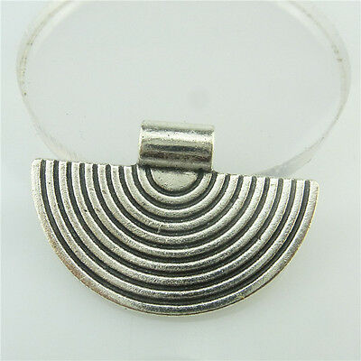 18988 10pcs Vintage Silver Alloy Sicircle Semicircle Loop Pendant Dangle Jewelry