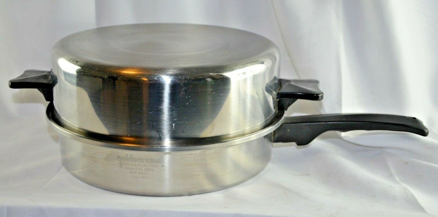 Golden West 9.5  Skillet Frying Pan & Dome Lid Tri-ply Stainless Steel 18-8 USA