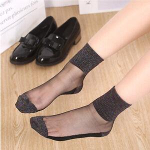 Summer-Women-Ladies-Silky-Glitter-Transparent-Short-Stockings-Ankle-Socks