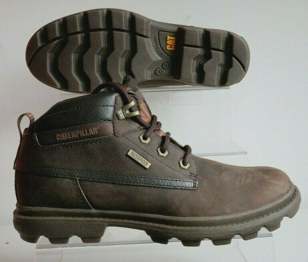 CATERPILLAR CAT MENS GRADY WP WATERPROOF LEATHER WORK Stiefel braun UK 8
