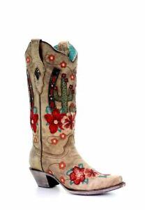 Damen Stiefelette Stiefeletten Western Look Blumenstickerei