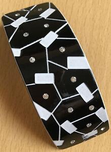 Un Grande Nero e Bianco Abstract E con Lustrini Design Clip di Capelli Barrette