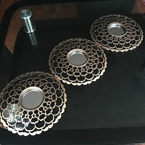Set Of 3 Copper Moroccan Art Deco Round Wall Mirrors Wall