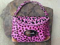 Pink & Black Clutch Purse Genuine Leather & Rhinestone Leopard Animal Print