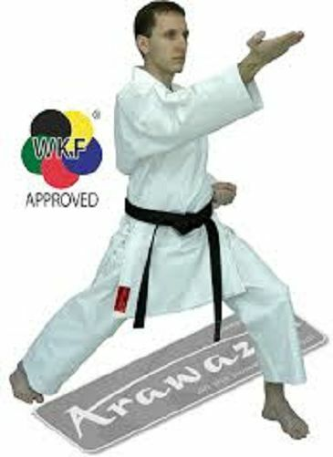 ARAWAZA CORAL WKF KARATE SUIT GI UNIFORM MARTIAL ARTS 10oz 160 &195 to 215