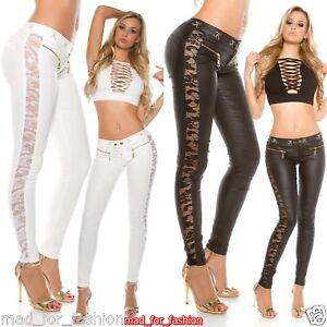 ab656164a9b4 Detalles de Sexy Koucla Piel Sintética Pantalones con Encaje y Zips.uk  8.10.12.14