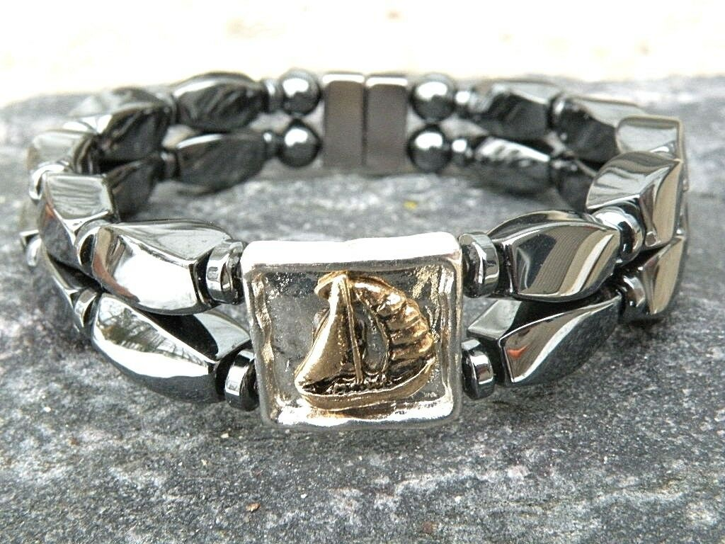 Mens Womens Magnetic Hematite NAUTICAL Ship or Anchor Bracelet Anklet 2 Row