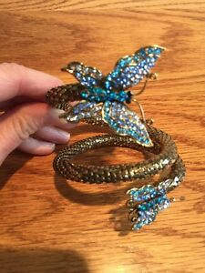 GOLD TONE WRAP AROUND BRACELET NECKLACE BUTTERFLY AUSTRIAN CRYSTAL