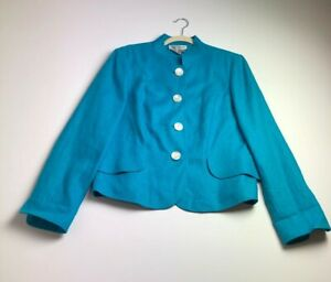 Worth-Women-s-Long-Sleeve-Blazer-Jacket-14-Blue-Shell-Buttons-100-Linen-Dressy