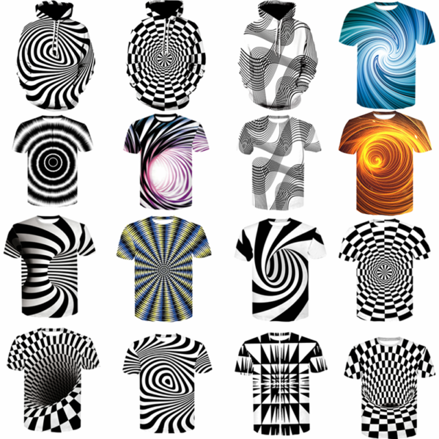 3D Optical illusion T-Shirt Hypnosis Swirl Men's Funny Summer Tee Tops Hoodies