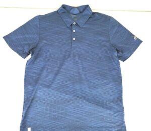 Adidas-Mens-Climacool-Golf-Polo-Shirt-Short-Sleeve-Blue-Black-Striped-Size-Large