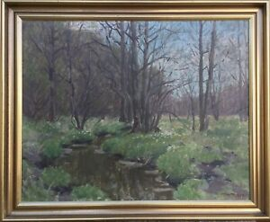 Impressionist-Spring-in-the-woods-natural-1955-mourits-N-rgard-Danish-painter-61x75