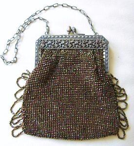Vintage Accessories Antique Art Deco Gold Pierced Floral Frame Tan Knit Copper Peacock Bead Purse