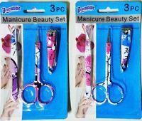 2x Printed Manicure Set Scissor Nail Cutter Tweezer (lot Of 2) Gift Hba Pedicure