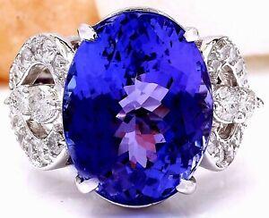 12-62-Carat-Natural-Tanzanite-14K-Solid-White-Gold-Diamond-Ring