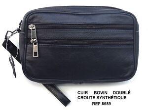 211a815e95 SACOCHE POCHETTE PORTE MAIN HOMME CUIR VERITABLE BOVIN NOIRE REF ...