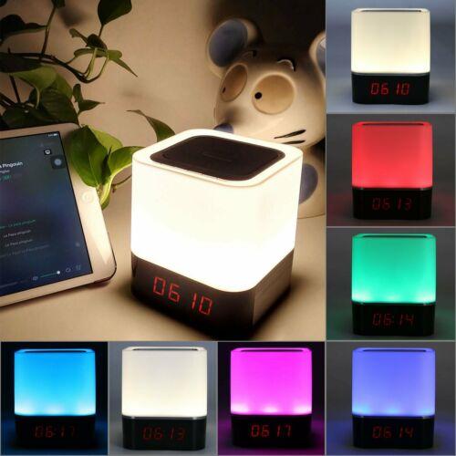Bluetooth Lautsprecher LED Wecker Touch Lampe Nachtlicht USB Digital MP3 Player