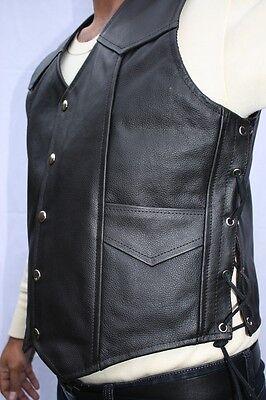 Classic Style Motorcycle Biker Leather Vest Waistcoat Men, Women Eagle Embossed