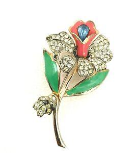 Vintage Unmarked CORO  Brooch A. Katz Rhinestone Enamel 1940s Flower Pin