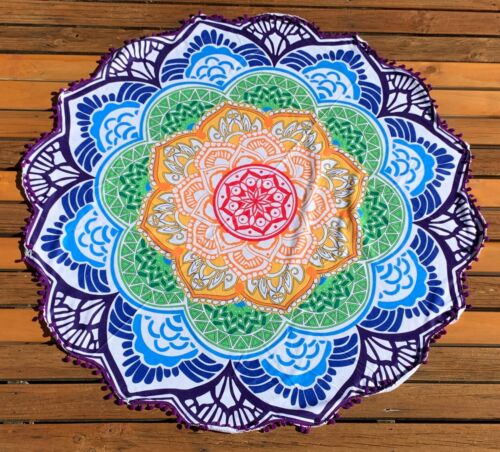 Bohemian Mandala Beach Towel Round Tapestry Blanket Bedspread Yoga Shawl Hippie