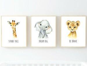 3 impresiones de Vivero Animales De La Selva León Jirafa Elefante sueño grande sé valiente 619-A